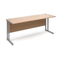 Maestro 25 SL straight desk 1800mm x 600mm - silver cantilever frame, beech top