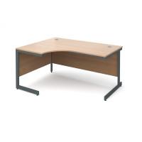 Maestro cantilever leg left hand ergonomic desk 1524mm - beech