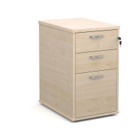 600mm deep desk high pedestal with two shallow drawers and one filing drawer in maple