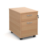 Mobile 2 drawer pedestal with silver handles 600mm deep - beech