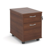 Mobile 2 drawer pedestal with silver handles 600mm deep - walnut