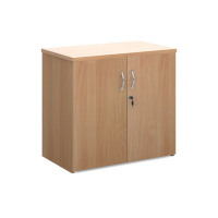 Universal double door cupboard 740mm high with 1 shelf - beech