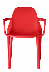 Remix plastic stackable cafe side chair - red