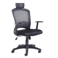 Solaris High back mesh chair with fixed arm  black mesh back with upholstered seat