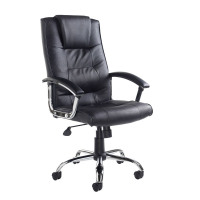 Somerset Executive Chair Leather Faced With Arms Black