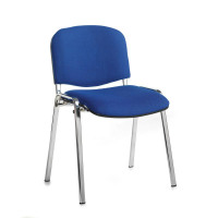 Taurus Meeting Room Stackable Chair With Chrome Frame And No Arms Blue