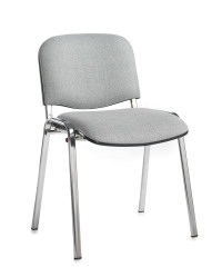 Taurus meeting room stackable chair with chrome frame and no arms - grey
