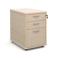 Tall deep mobile pedestal with two shallow drawers and one filing drawer in maple