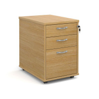 Tall deep mobile pedestal with two shallow drawers and one filing drawer in oak