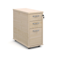 Slimline deep mobile pedestal with two shallow drawers and one filing drawer in maple