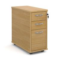 Tall slimline mobile 3 drawer pedestal with silver handles 600mm deep - oak