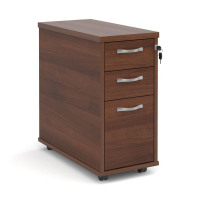 Tall slimline mobile 3 drawer pedestal with silver handles 600mm deep - walnut