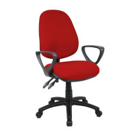 Vantage 100 Operator Chair 2 Lever Fabric Fixed Arms Burgundy