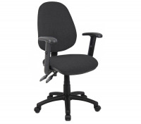 Vantage 100 2 lever fabric operator chair with adjustable arms - charcoal
