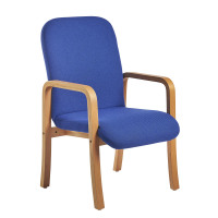 Yealm modular beech wooden frame chair with double arms 540mm wide - blue