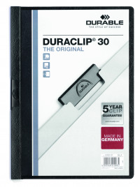 Durable 3mm Black A4 Duraclip File (Pack of 25) 2200/01