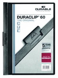 Durable Duraclip Folder PVC Clear Front 6mm Spine for 60 Sheets A4 Black Ref 2209/01 [Pack 25]