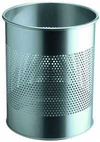Durable Waste Bin Metal Round Perf 15L 165mm Silver 331023