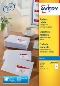 Avery Inkjet Address Label 63.5x39mm J8160-100 (2100 Labels)