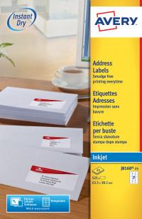 Avery Inkjet Address Labels 63.5x38.1mm J8160-25 (525Labels)
