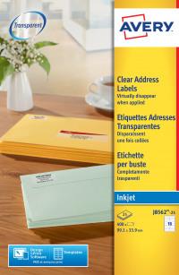 Avery Clear Inkjet Labels 99x34mm J8562-25 (400 Labels)