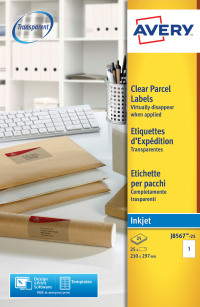 Avery Clear Inkjet Labels 210x297mm J8567-25 (25 Labels)