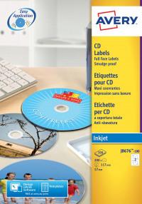 Avery Full Face CD/DVD Labels 117mm DIA J8676-100(200Labels)