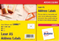 Avery A5 Laser Addressing Labels 99x38mm L30063-20(40Labels)