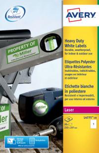 Avery Heavy Duty Labels 210x297mm White L4775-20 (20 Labels)