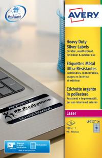 Avery Heavy Duty Labels 96x50.8mm Silver L6012-20(200Labels)