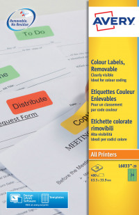 Avery Coloured Labels 63.5x34mm Green L6033-20 (480 Labels)