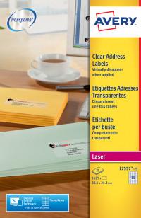 Avery Clear Mini Laser Labels 38x21mm L7551-25 (1625 Labels)
