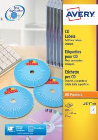 Avery FullFace CD Laser 117mm DIA Wht L7676-100 (200 Labels)