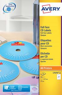 Avery Full Face CD Laser Labels 117mm DIA L7676-25(50Labels)