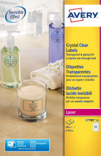 Avery Crystal Labels 40mm DIA Clear L7780-25 (600 Labels)