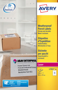 Avery Weatherproof Ship Labels 99x57mm L7992-25 (250 Labels)