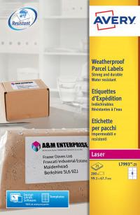 Avery Weatherproof Ship Labels 99x67mm L7993-25 (200 Labels)