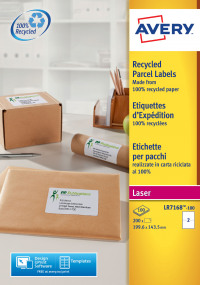 Avery LR7168-100 199.6x143.5mm QPEEL Recycled Labels PK200