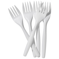Value Forks Plastic White (Pack 100)