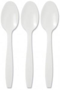 Value Dessert Spoons Plastic White (Pack 100)