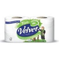 Velvet Toilet Roll White Pack 12 For The Price of Pack 9