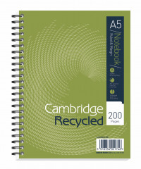 Cambridge Recycled A5 Plus Wirebound Notebook 200 Pages (Pack of 3) 100080106