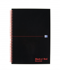 Black n Red A4 Wirebound Hardback Recycled Notebook Ruled Pack of 5 846350972