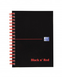 Black n Red Notebook Wirebound 90gsm Ruled and Perforated 140pp A6 Glossy Black Ref 100080448 [Pack 5]