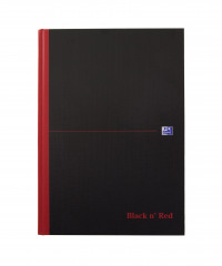 Black n Red A4 Casebound Hardback Notebook Narrow Ruled (Pack of 5) 100080474