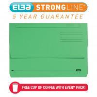 Elba Strongline Manilla Document Wallet 320gsm Capacity 32mm Foolscap Green Ref 100090268 [Pack 25]