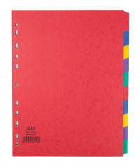 Elba Heavyweight Subject Dividers 10-Part Card Multipunched 220gsm Extra Wide A4+ Assorted Ref 400007516