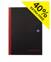 Black n' Red Feint Ruled Casebound Hardback Notebook Ruled A4 (Pack of 7) 100080446