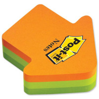 Post-it Arrow Shaped Notes Pad of 225 Sheets Neon Orange and Green