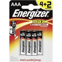 Energizer Max AAA/E92 Batteries Ref E300124200 [Pack 4 and 2 FREE] Apr-Jun 2018